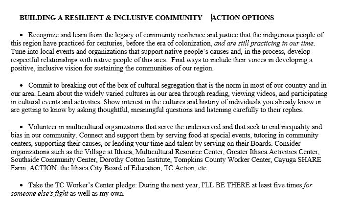 Resilient, inclusive community actions