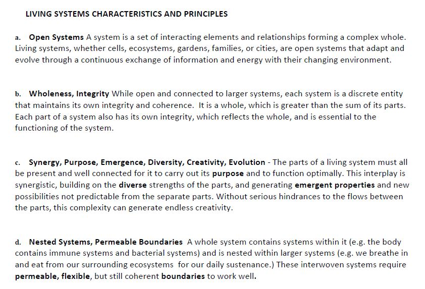 Living systems characteristics and principles